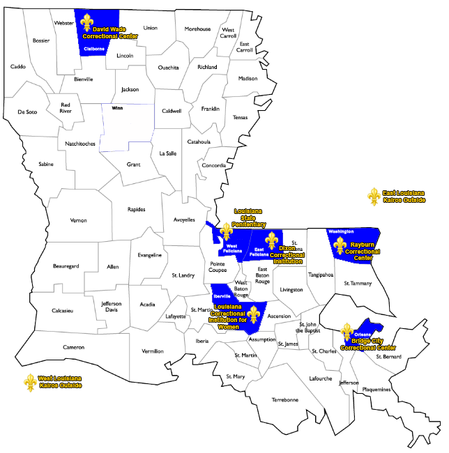 Kairos Prison Ministry of Louisiana Ministry Map